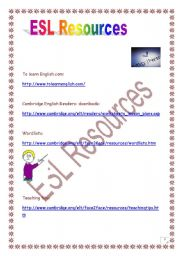 English Worksheets: ESL RESOURCES (useful links)
