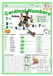 English Worksheet: Cardinal Numbers