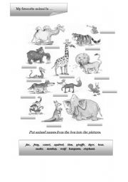 English Worksheets: ANIMALS PART 1 B-W