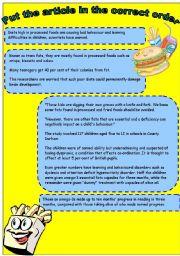 English Worksheet: Junk food - reading comprehension