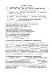 Worksheet -Vocabulary related to money and shopping
