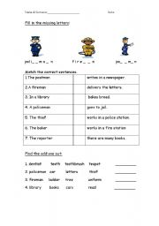 English Worksheets: Occupations vocabulary worksheet