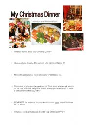 English Worksheets: descriptive writing Christmas Dinner