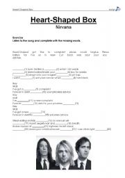 English Worksheets: Heart-Shaped Box by Nirvana