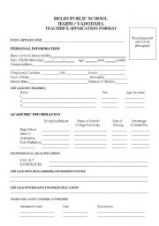 English Worksheets: application formate