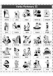 English Worksheet: VERBS PICTIONARY 2