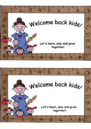 Welcome back cards