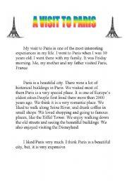 English Worksheets: A Visit To Paris
