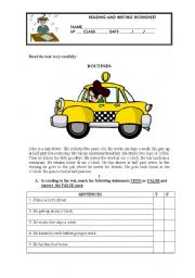 English Worksheets: READING  COMPREHENSION AND WRITING -