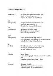 English worksheet: CORRECTION SHEET