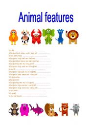 English Worksheets: Animal features