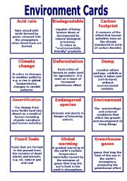 English Worksheet: Environment Cards
