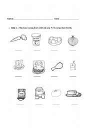 worksheet: Where does food come from?