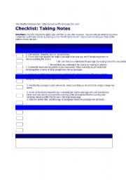 English Worksheets: Checklist: taking notes