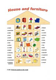 English Worksheet: House And Furniture 1