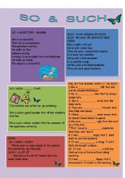 English Worksheets:  SO & SUCH