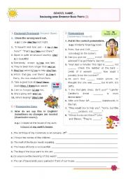 English Worksheet: Reviewing some  Basic Grammar Points  (1)