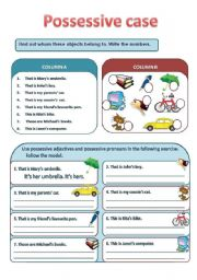 English Worksheet: THE POSSESSIVE CASE