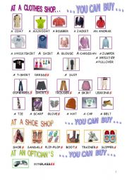 English Worksheet: Picture dictionary : clothes and shoes