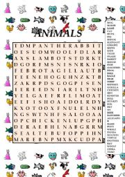 English Worksheet: ANIMALS WORDSEARCH