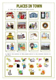 English Worksheets: Places in town