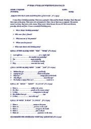 English Worksheets: 7th class 1exam