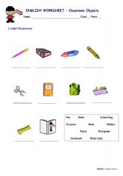 English worksheet: Classroom Objects