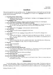 English Worksheets: Some Class Rules
