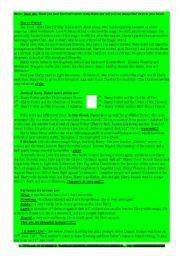 English worksheet: Harry Potter Reading