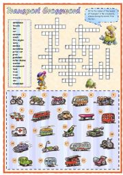 English Worksheet: Means of transport crossword (1 of 2)