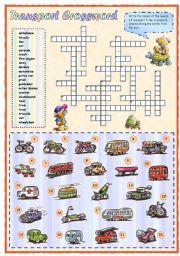 English Worksheet: Means of transport crossword (1 of 2)