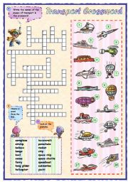 English Worksheet: Means of transport crossword (2 of 2)