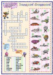 English Worksheet: Means of transport crossword (2 of 2)