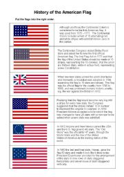 graphic about American History Timeline Printable named Background of the American flag - ESL worksheet via kameh