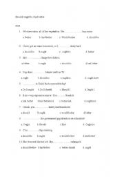 English Worksheet: should ought to had better