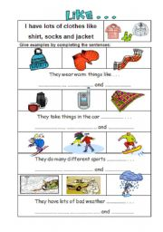 English Worksheets: Give examplees