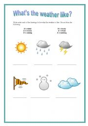 english teaching worksheets what s the weather like. Black Bedroom Furniture Sets. Home Design Ideas