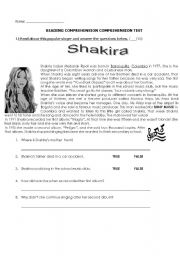 English Worksheet: Shakira�s biography