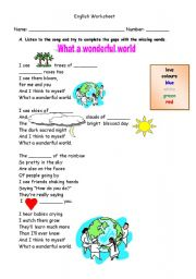 English Worksheet: What a wonderful world!        by Louis Armstrong