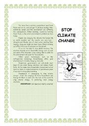 English Worksheet: stop climate change
