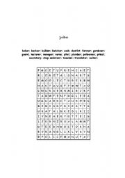 English worksheet: puzzle about jobs