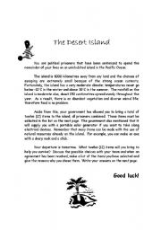 English Worksheet: The Desert Island