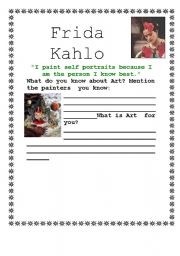 Worksheets Frida Kahlo Worksheets worksheet frida kahlo part 1 english 1