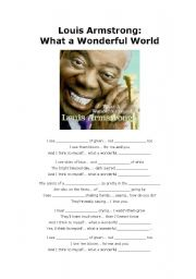 English Worksheets: Louis Armstrong: What a Wonderful World