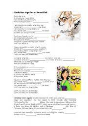 English Worksheets: Christina Aguilera: Beautiful