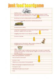 English Worksheet: Junk Food Board Game