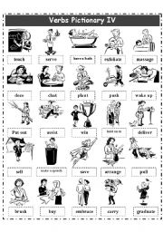 English Worksheet: VERBS PICTIONARY 4