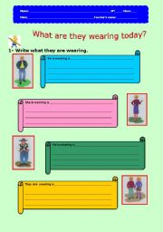 English worksheet: What are they wearing today?