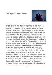 Legend of Sleepy Hollow - seasonal activity
