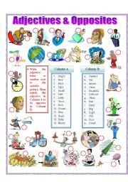 English Worksheet: Adjectives and Opposites (part 1)